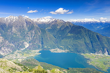 Aerial view of Novate Mezzola lake in spring, Valchiavenna, Sondrio province, Valtellina, Lombardy, Italy, Europe