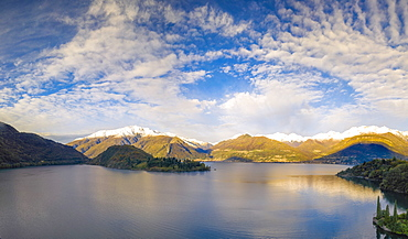 Aerial view by drone of Piona and Monti Lariani, Lake Como, Colico, Lecco province, Lombardy, Italian Lakes, Italy, Europe