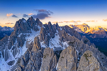 Sharp pinnacles of Cadini di Misurina mountains at sunrise, Dolomites, Belluno province, Veneto, Italy, Europe