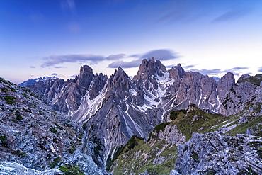 Bright sunrise over Cadini di Misurina mountain group, Dolomites, Belluno province, Veneto, Italy, Europe