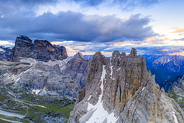 Sunset over Croda dei Toni, Cima dell'Agnello and Campanili del Marden, aerial view, Dolomites, South Tyrol/Veneto, Italy, Europe