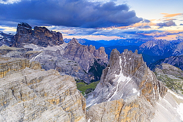 Croda dei Toni, Cima dell'Agnello and Campanili del Marden after sunset, aerial view, Dolomites, South Tyrol/Veneto, Italy, Europe