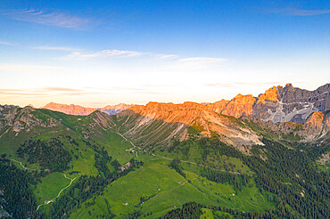 Aerial view of Gampen Alm, Kaserill Alm and Rifugio Genova hut, Puez-Odle nature park, Funes, South Tyrol, Dolomites, Italy, Europe