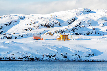 Isolated wood houses in the snow along the fjord during the arctic winter, Oksfjord, Troms og Finnmark, Northern Norway, Scandinavia, Europe
