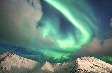 Northern Lights (Aurora Borealis) over mountain peaks covered with snow, Sorvaer, Soroya Island, Hasvik, Troms og Finnmark, Norway, Scandinavia, Europe