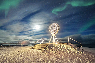 The Northern Lights (Aurora Borealis) over the Globe Monument, symbol of North Cape (Nordkapp), Mageroya island, Troms og Finnmark, Norway, Scandinavia, Europe