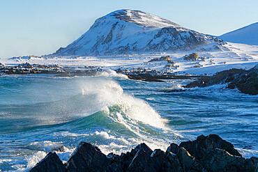 Waves of cold Barents Sea rising up before breaking on rocks, Sandfjorden, Arctic Ocean, Varanger Peninsula, Finnmark, Norway, Scandinavia, Europe