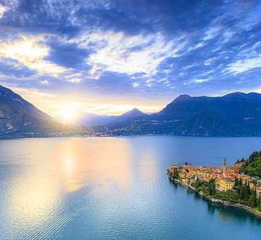 Aerial panoramic of Lake Como and Varenna at sunset, Lecco province, Lombardy, Italian Lakes, Italy, Europe