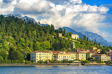 Historical buildings and hotels in the old town of Bellagio seen from ferry boat, Lake Como, Como province, Lombardy, Italian Lakes, Italy, Europe