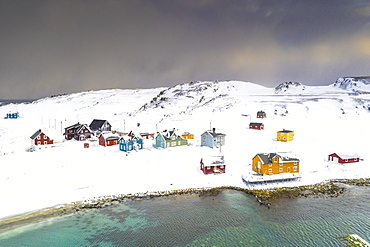 Aerial view of the fishing village of Veines in winter, Kongfjord, Varanger Peninsula, Troms og Finnmark, Norway, Scandinavia, Europe