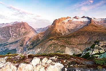 Gross Fusshorn, Rotstock and Geisshorn mountains at dawn from Hohfluh lookout, Riederalp, Bernese Alps, Valais, Switzerland