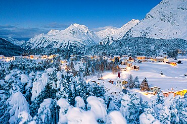 Winter forest covered with snow surrounding Chiesa Bianca and Maloja at dusk, Bregaglia, Graubunden canton, Engadin, Switzerland