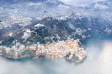 Romantic town of Varenna covered with snow, aerial view, Lake Como, Lecco province, Lombardy, Italian Lakes, Italy, Europe