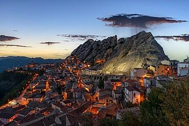 Old town of Pietrapertosa at dusk, Dolomiti Lucane, Potenza province, Basilicata, Italy, Europe