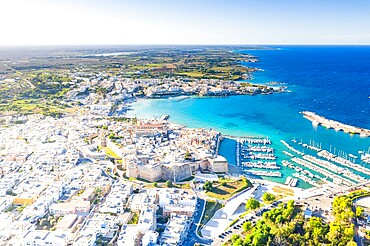 Aerial view of the coastal town of Otranto washed by the turquoise sea, Salento, Lecce province, Apulia, Italy, Europe