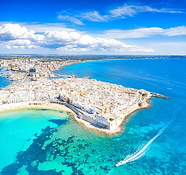 White sand beach washed by the turquoise sea surrounding Gallipoli, aerial view, Lecce province, Salento, Apulia, Italy, Europe
