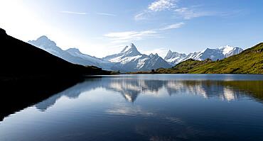 Schreckhorn mountain reflected in Bachalpsee lake at dawn, Grindelwald, Bernese Oberland, Bern Canton, Switzerland, Europe