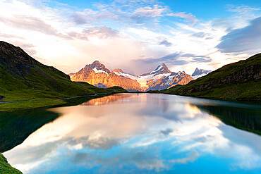 Schreckhorn mountain and Bachalpsee lake at sunset, Grindelwald, Bernese Oberland, Bern Canton, Switzerland, Europe