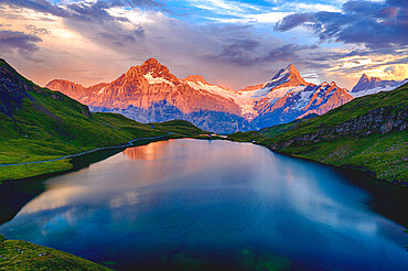 Wetterhorn, Schreckhorn and Finsteraarhorn at sunset from Bachalpsee lake, Grindelwald, Bernese Oberland, Switzerland, Europe