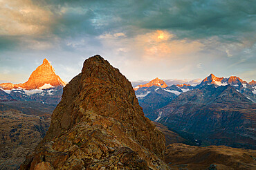 Sunrise over Matterhorn and Dent Blanche view from Riffelhorn, aerial view, Zermatt, canton of Valais, Switzerland, Europe