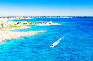 Fishing boat in the blue Ionian Sea, Torre Lapillo, Porto Cesareo, Lecce province, Salento, Apulia, Italy, Europe