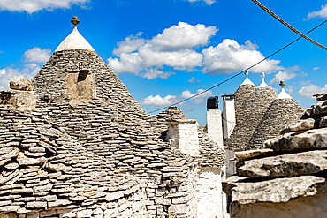 Details of the conical stone roofs of Trulli traditional houses, Alberobello, province of Bari, Apulia, Italy