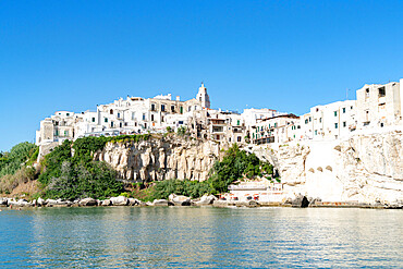 Whitewashed houses and San Francesco church on cliffs, Vieste, Foggia province, Gargano National Park, Apulia, Italy