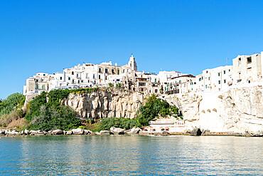 Whitewashed houses and San Francesco church on cliffs, Vieste, Foggia province, Gargano National Park, Apulia, Italy, Europe