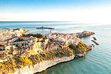 Old town of Vieste perched on cliffs at sunrise, aerial view, Foggia province, Gargano National Park, Apulia, Italy, Europe - 1179-5070