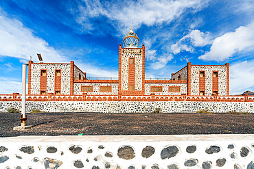 Front view of towers and lantern dome of Entallada lighthouse, Tuineje, Las Palmas, Fuerteventura, Canary Islands, Spain, Atlantic, Europe