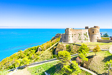 Aerial view of Castello Aragonese castle on headland above the sea, Ortona, province of Chieti, Abruzzo, Italy - 1179-5090