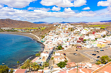 High angle view of the seaside town of Las Playitas, Fuerteventura, Canary Islands, Spain
