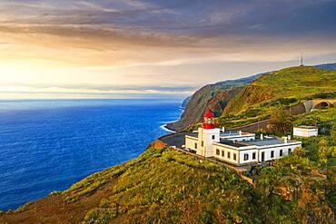 Ponta do Pargo lighthouse at sunset, Calheta, Madeira, Portugal, Atlantic, Europe