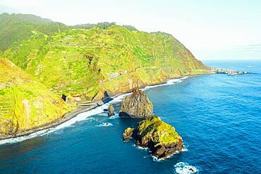 Aerial view of sea stack rocks of Ilheus da Rib and Ribeira da Janela and coastline, Porto Moniz, Madeira island, Portugal, Atlantic, Europe