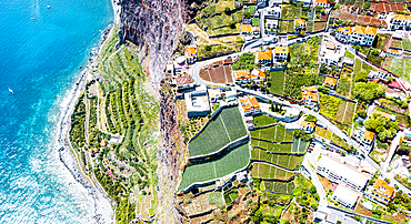 Terraced green fields by the turquoise ocean from above, Camara de Lobos, Madeira island, Portugal