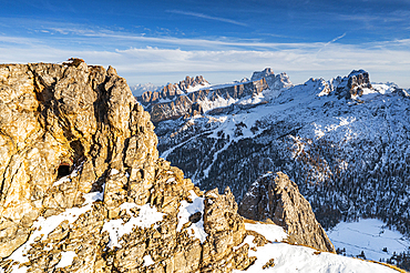 World War rock tunnels on Mount Lagazuoi with Pelmo and Nuvolau peaks on background, aerial view, Dolomites, Veneto, Italy