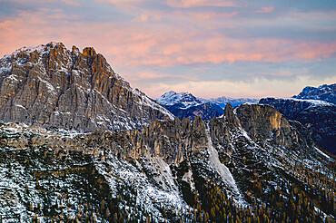Monte Cristallo at sunrise, Dolomites, Cortina d'???Ampezzo, Belluno province, Veneto, Italy