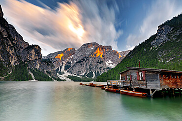 Cloudy sky at sunset over Croda del Becco and lake Braies / Pragser Wildsee, Dolomites, South Tyrol, Italy