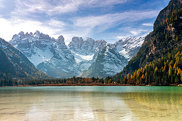 Peaks of Cristallo group view from the pristine lake Landro, Dolomites, Dobbiaco, Bolzano province, South Tyrol, Italy