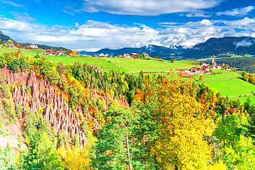 Earth pyramids natural monument of Renon plateau in autumn, Longomoso, Bolzano, South Tyrol, Italy, Europe