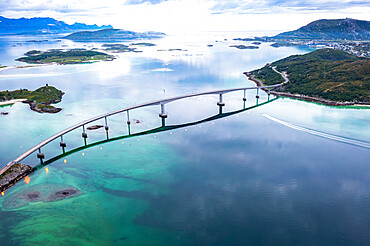 Aerial view of Sommaroy bridge connecting island to mainland, Sommaroy, Troms county, Northern Norway