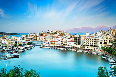 Seaside town resort Agios Nikolaos by lake Voulismeni, Lasithi prefecture, Crete, Greece
