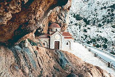 Agios Nikolaos Orthodox church carved into rocks in Kotsifou gorge, Crete island, Greek Islands, Greece, Europe