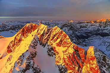 Aerial view of Mount Disgrazia and Bernina Group at sunset, Masino Valley, Valtellina, Lombardy, Italy, Europe
