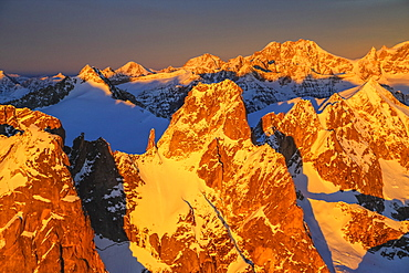 Aerial view of peaks Torrone and Bernina Group at sunset, Masino Valley, Valtellina, Lombardy, Italy, Europe