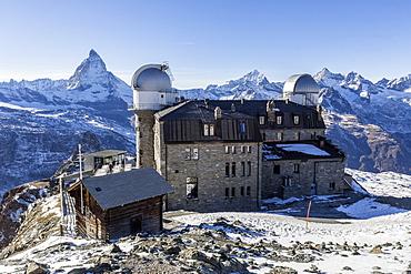 The Gornergrat, the final destination of the train leaving from Zermatt, with the Matterhorn behind, Valais, Swiss Alps, Switzerland, Europe