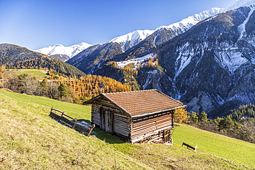 Wooden cabin surrounded by colorful woods and snowy peaks, Schmitten, Albula District, Canton of Graubunden, Switzerland, Europe