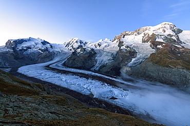 View of Mont Rosa Massif and its glacier at dusk, Zermatt, Canton of Valais, Pennine Alps, Swiss Alps, Switzerland, Europe