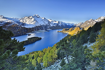 Lake Sils, between Maloja Pass and Lake Silvaplana, overlooked by several mountains over 3000 metres, Graubunden, Switzerland, Europe