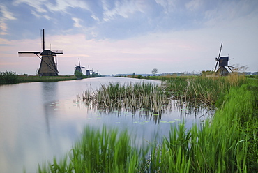 Green grass frames the windmills reflected in the canal at dawn, Kinderdijk, Rotterdam, South Holland, Netherlands, Europe